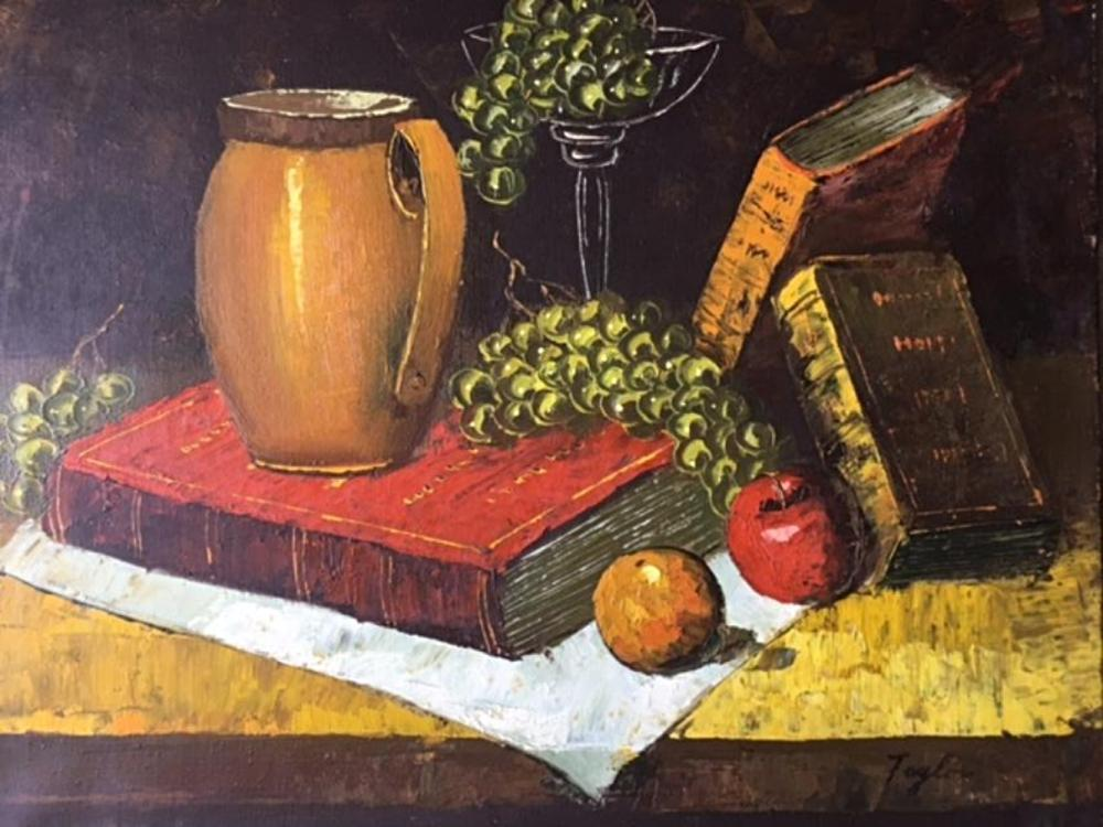 Vintage Oil Painting on Canvas Signed Taylor Still Life with Grape and Books