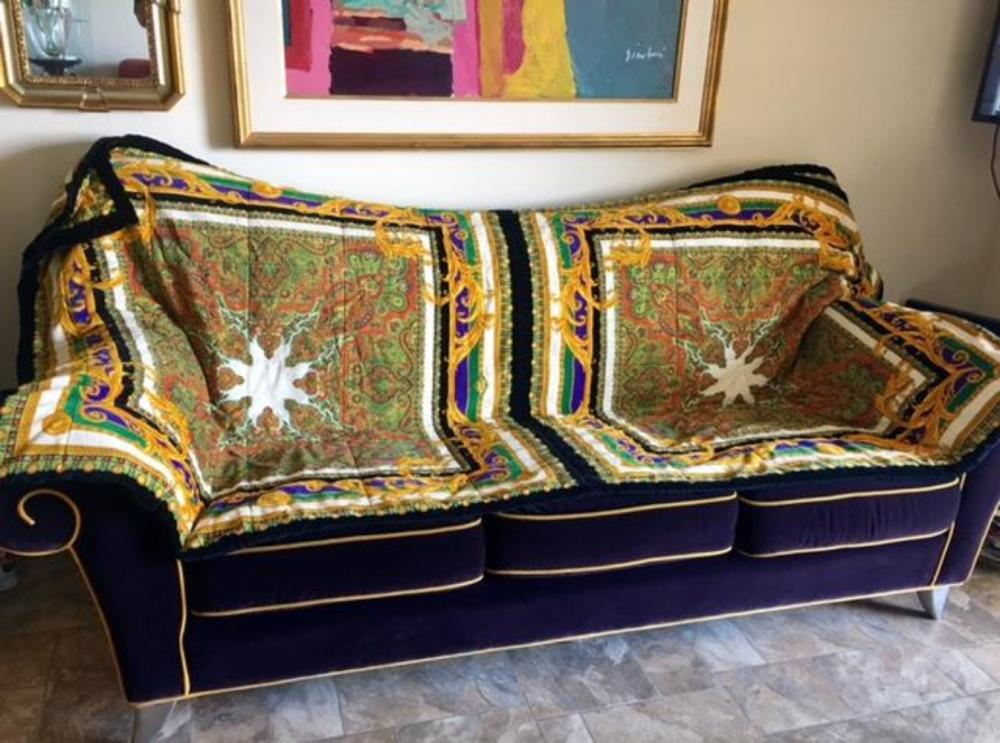 Lot 30: Versace Velvet KING Bed Sofa Cover 1980s Pre-death