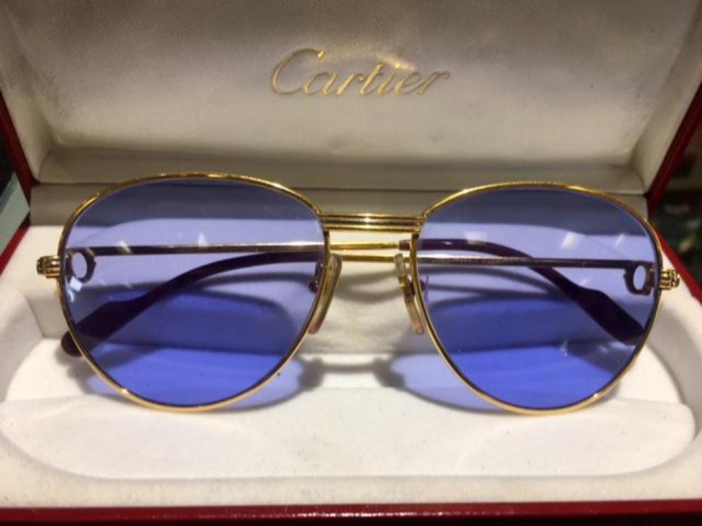 CARTIER Louis France 18K Gold and Diamond Blue Sunglasses