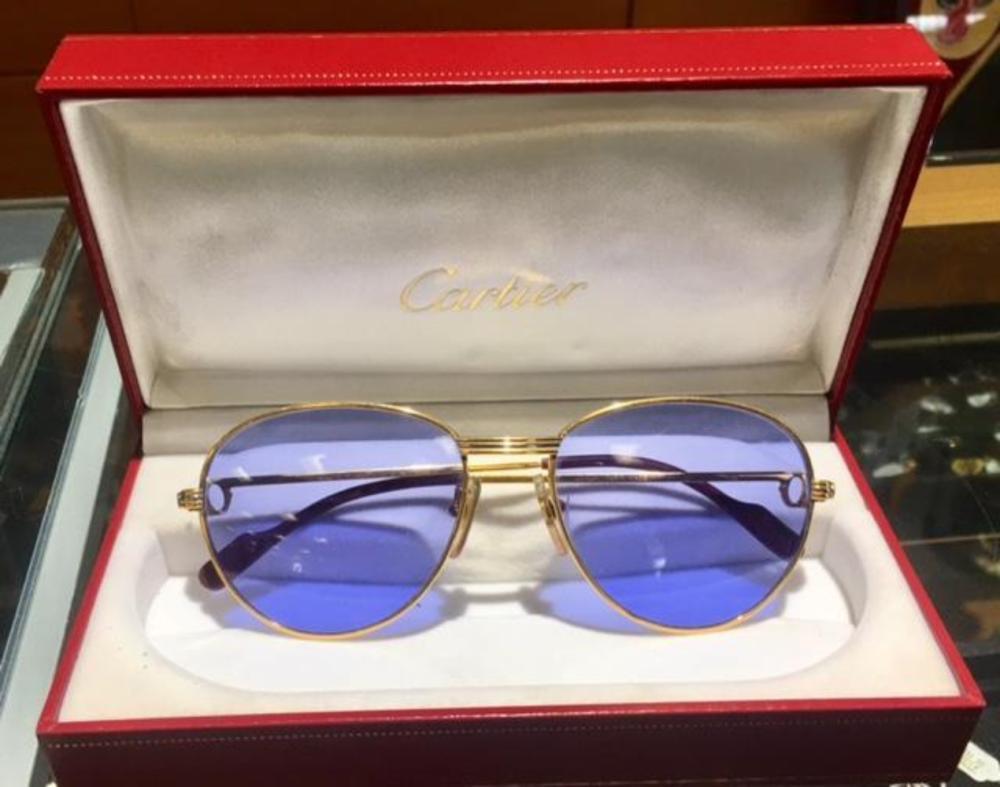 Lot 53: CARTIER Louis France 18K Gold and Diamond Blue Sunglasses