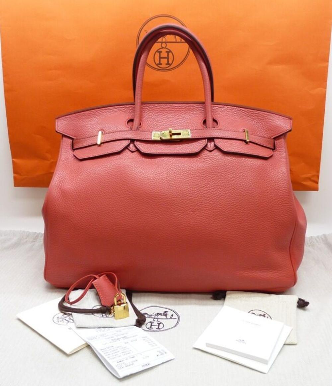 HERMES Birkin 40 Classic Togo Handbag Dusty Rose Gold