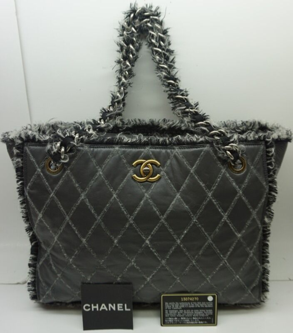 CHANEL Soft Leather & Tweed Trim Grey Tote Bag Quilted