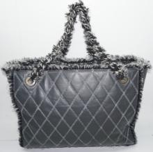Lot 58: CHANEL Soft Leather & Tweed Trim Grey Tote Bag Quilted