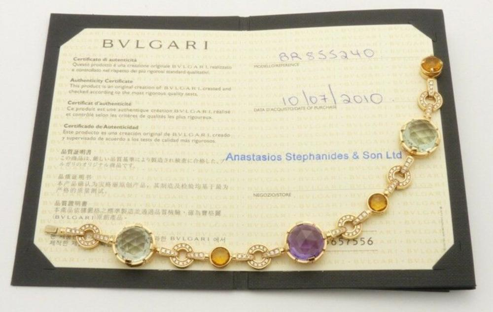 Lot 61: BULGARI Parentesi Diamond Quartz Amethyst 18k Bracelet