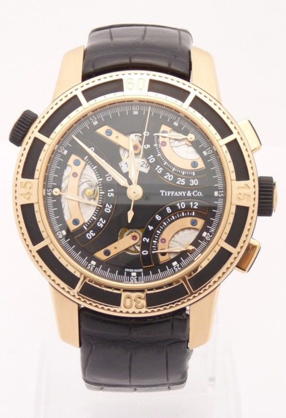 Tiffany & Co T-57 Mens Chronograph 18K Rose Gold Watch