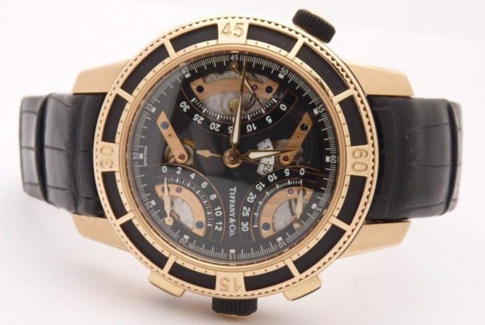 Lot 62: Tiffany & Co T-57 Mens Chronograph 18K Rose Gold Watch