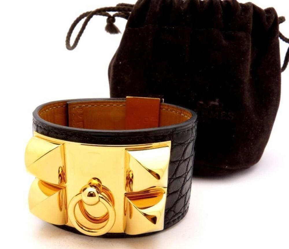 Hermes CDC Collier de Chien Cuff Bracelet Alligator