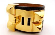 Lot 63: Hermes CDC Collier de Chien Cuff Bracelet Alligator