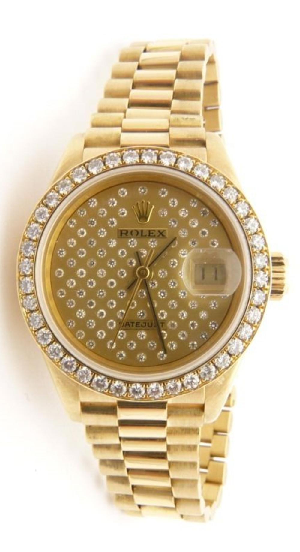 ROLEX 69178 Oyster Perpetual Datejust Pleiade President 26mm Ladies 18K Gold Diamond Watch