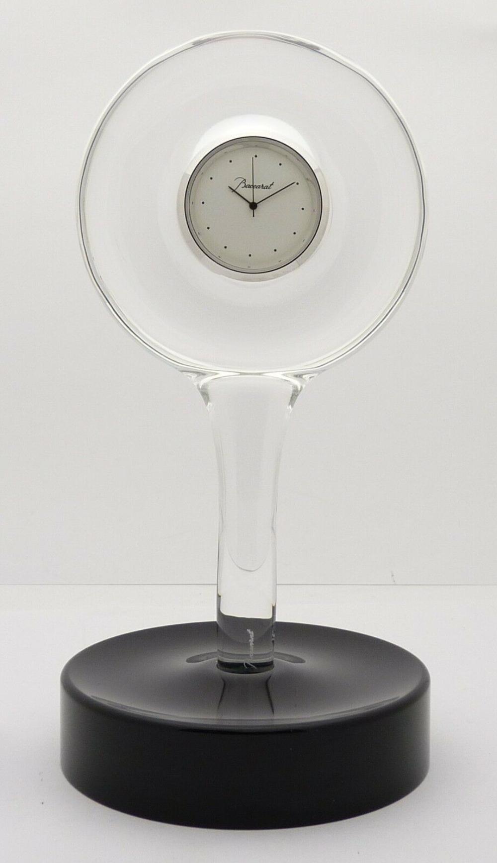 Lot 82: Baccarat France Crystal Table Desk Hypnos Clock