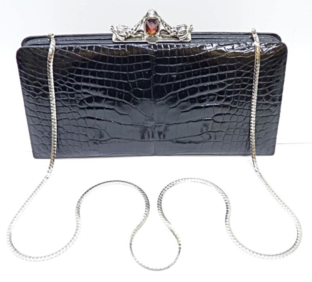 DARBY SCOTT Alligator Leather Sterling Silver Bag Clutch