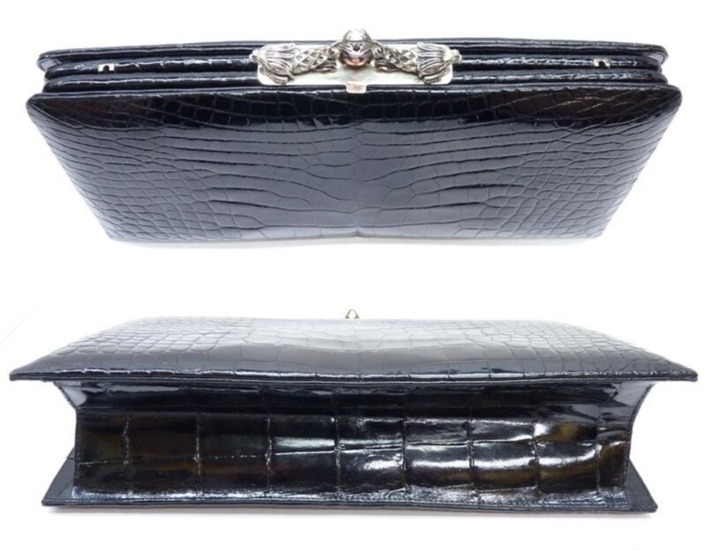 Lot 86: DARBY SCOTT Alligator Leather Sterling Silver Bag Clutch