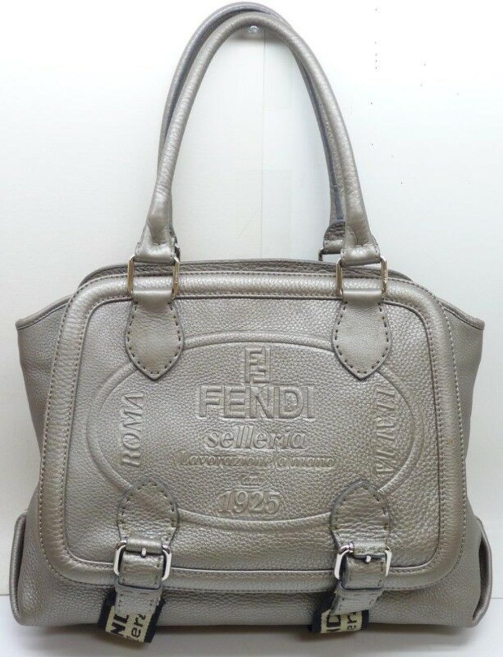 FENDI Selleria Lavorazione a mano 1925 Silver Leather Bag Limited Edition