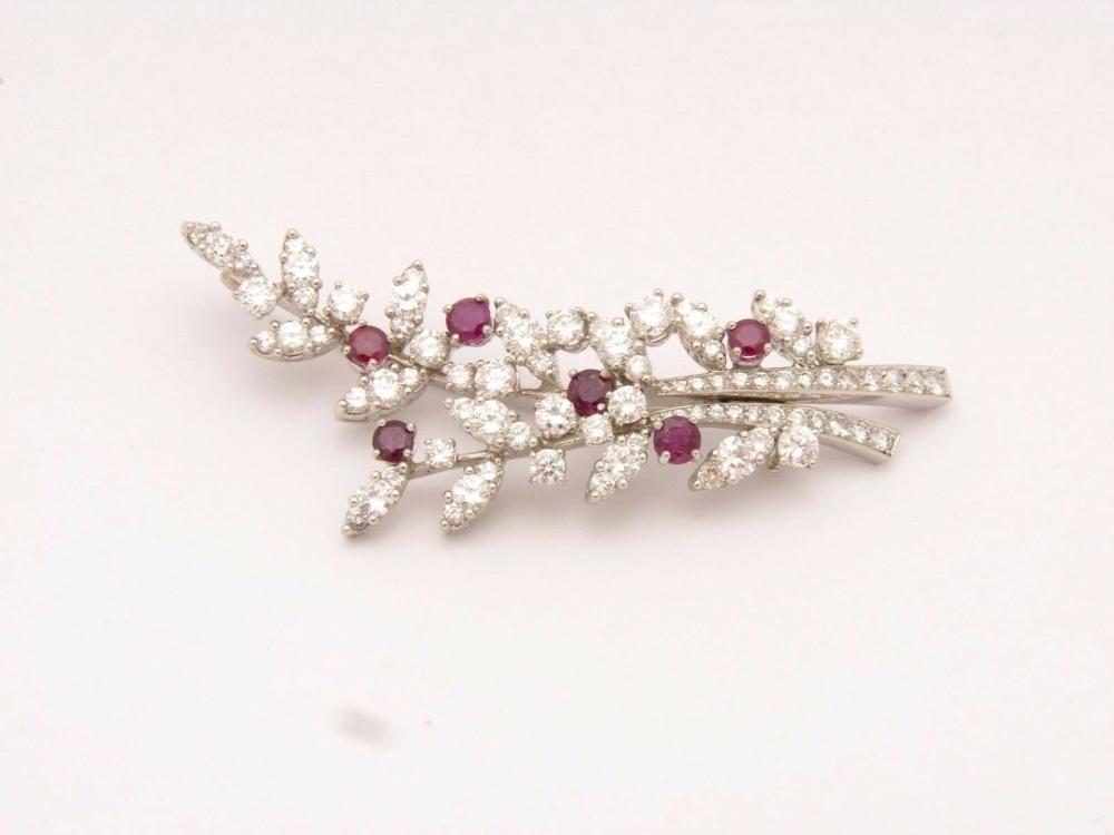 TIFFANY & CO. Vintage Platinum Diamond & Ruby Brooch Branch Pin