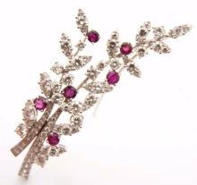 Lot 89: TIFFANY & CO. Vintage Platinum Diamond & Ruby Brooch Branch Pin