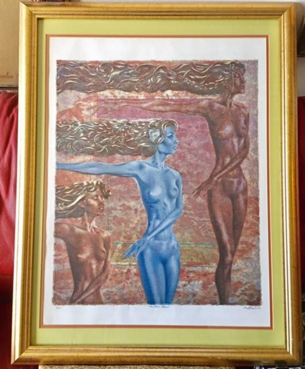 Mystery Artist Signed Lithograph Three Graces Nude