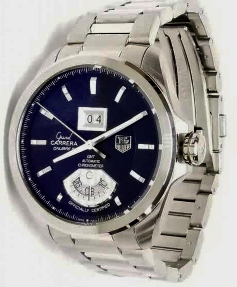 Tag Heuer Grand GMT Automatic Carrera St. Steel Watch with Box