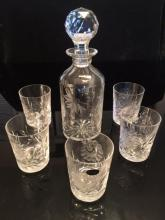 Lot 129: Antique Bohemian Hand Cut Crystal Set Decanter & 5 Glasses made in Czechoslovakia