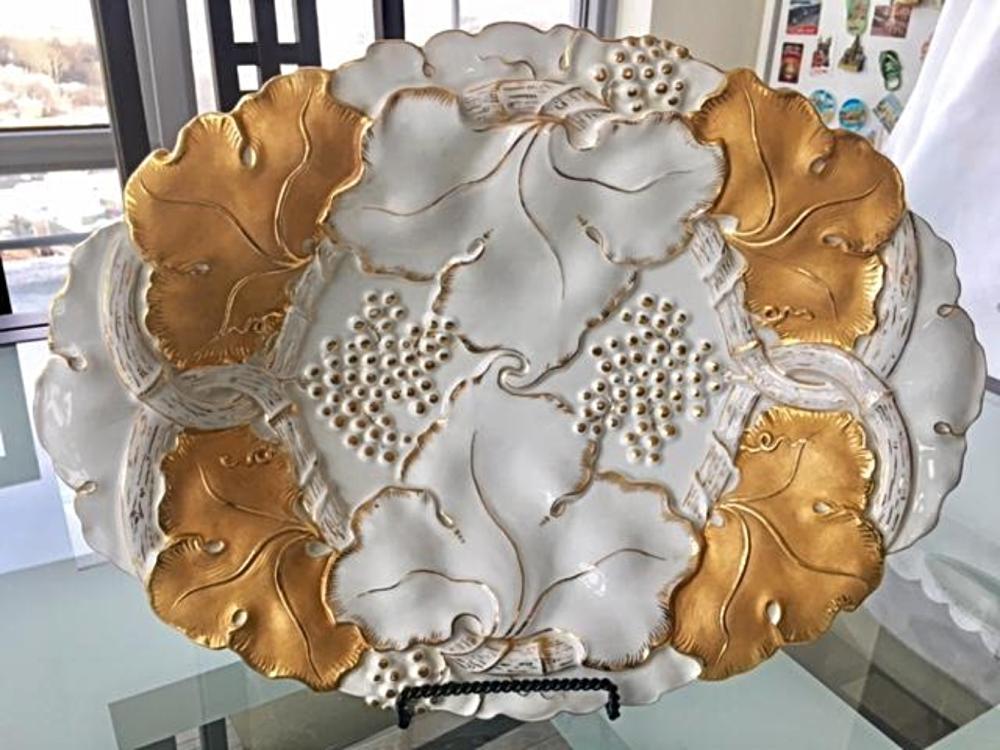 Antique Meissen LARGE Porcelain Charger Bowl Tray
