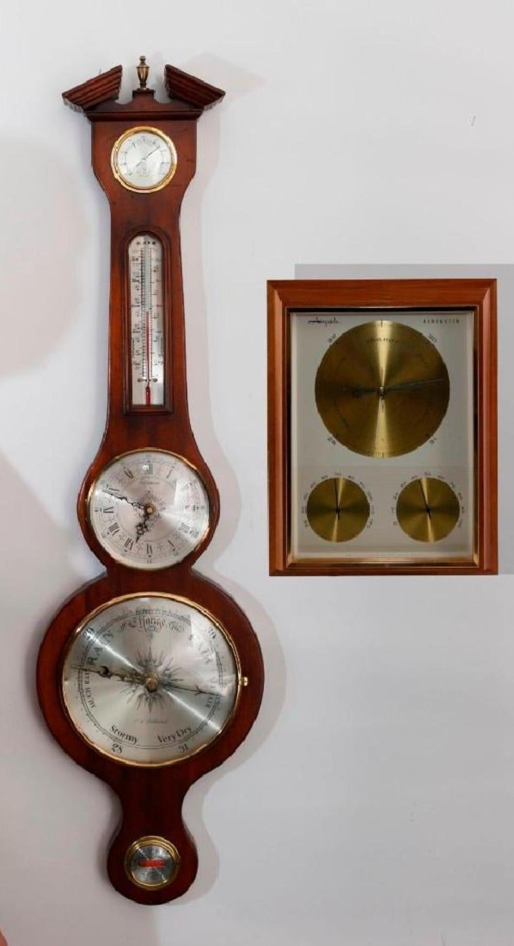 Bollenbach Mahogany Wall Barometer Clock Thermometer
