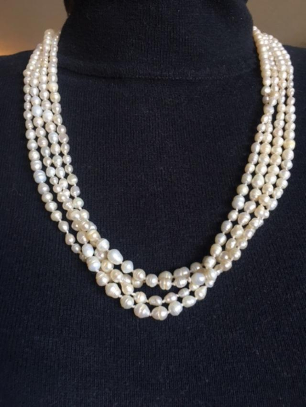 """Lot 133: Extra Long 100"""" Pearl Strand Necklace"""