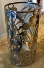 Lot 138: Antique American Sterling Silver Overlay Glass Vase