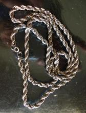 """Lot 136: Sterling Silver 925 Rope Chain 30"""" Long"""