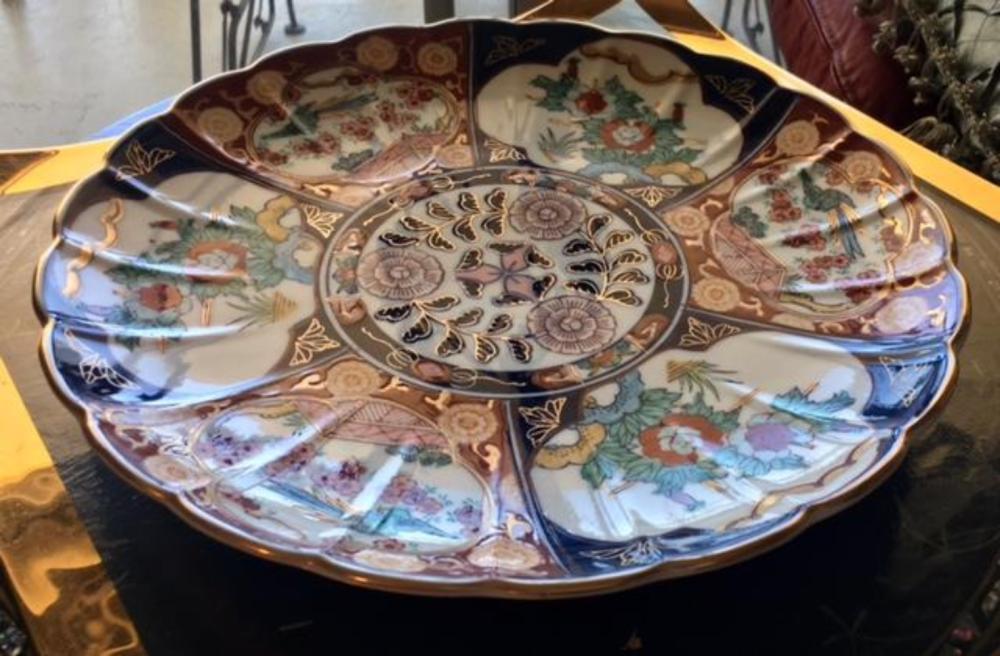 Japanese Imari Scalloped Edge Charger Large Plate Bowl