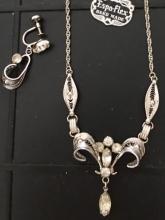 Lot 160: Vintage Sterling Silver Espo Set Necklace Earrings