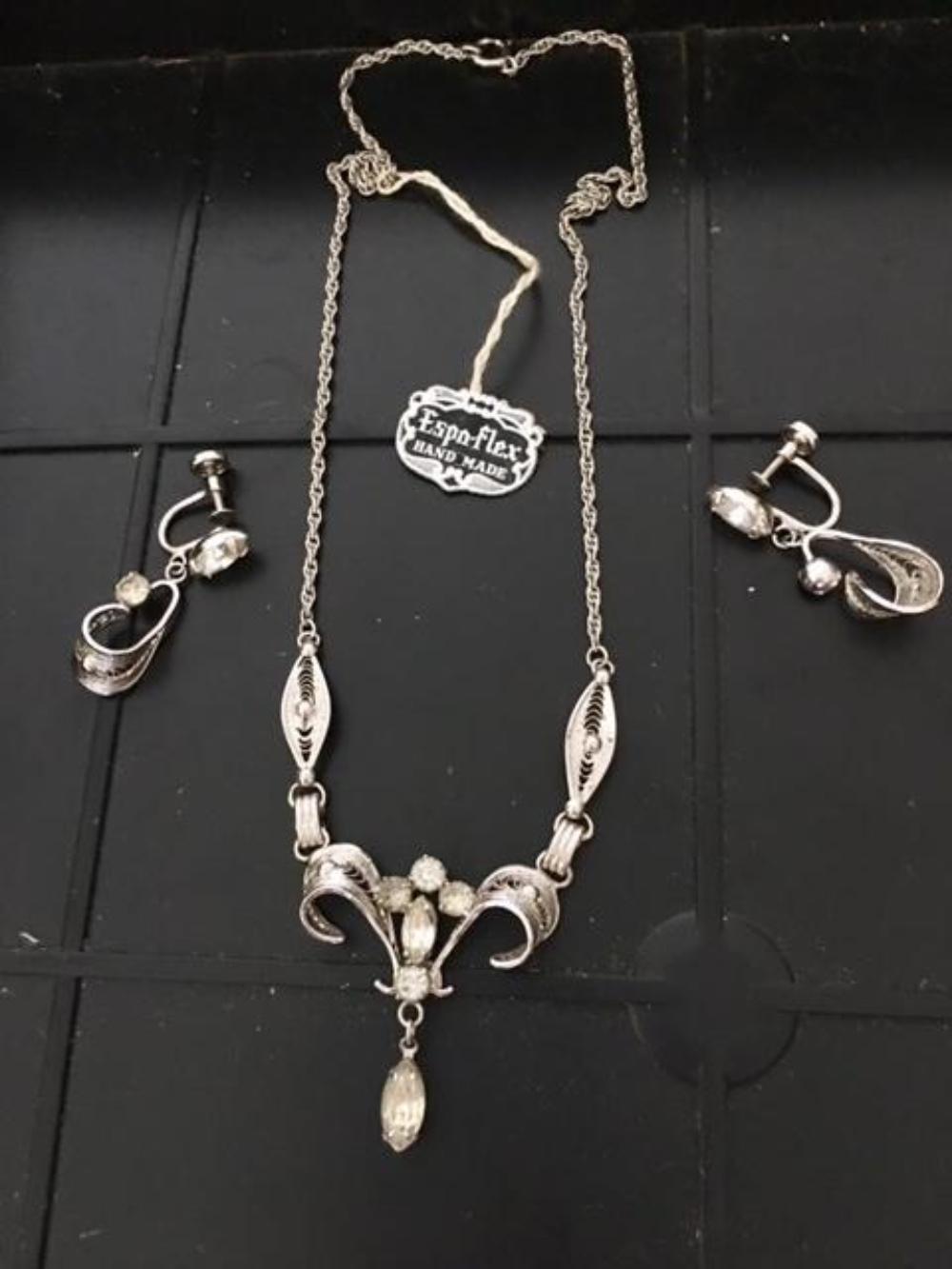 Vintage Sterling Silver Espo Set Necklace Earrings