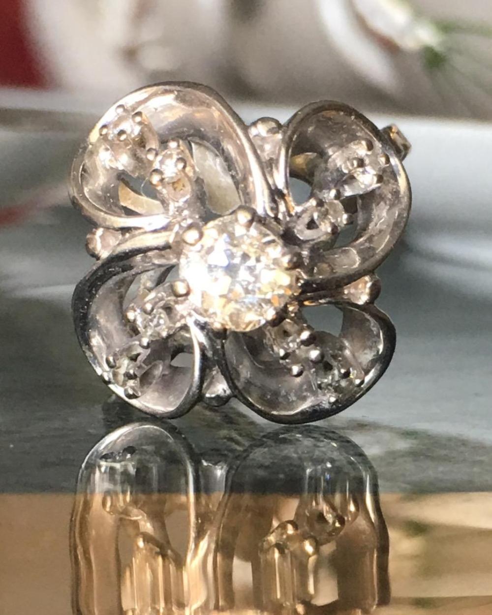 Platinum 1ct Diamonds Adjustable Shank Ring Flower Shape