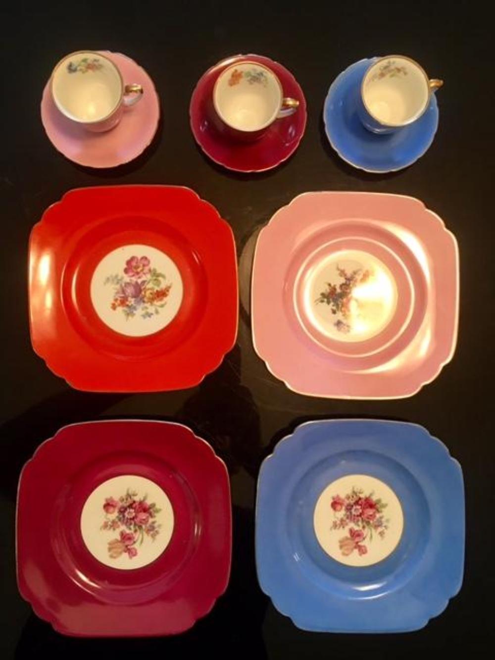 Czechoslovakia Bohemian Porcelain Tea Set Cups Saucers Cake Plates
