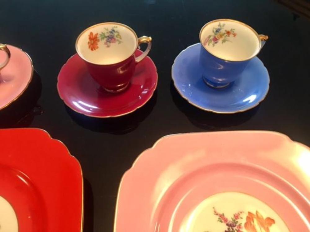 Lot 164: Czechoslovakia Bohemian Porcelain Tea Set Cups Saucers Cake Plates