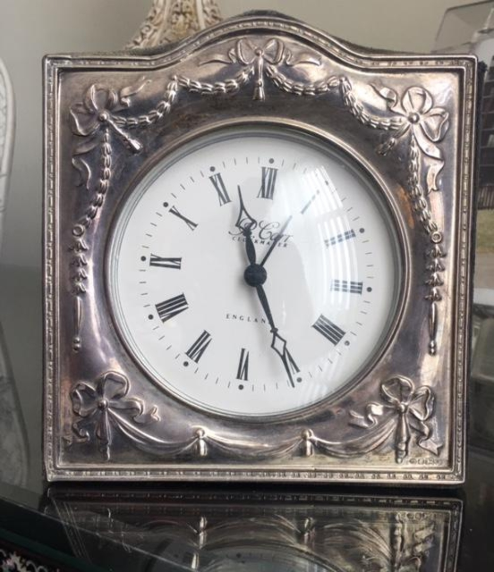 R. Carr English Sterling Silver Clock with Hechinger West Germany Quartz Movement