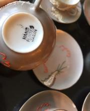 Lot 155: Japanese Porcelain Demitasse Set 6 Dragon Cups Saucers