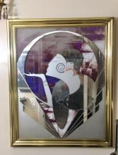 Lot 170: Vintage Art Deco Erte Style Etched Mirror Composition Clear and Frosted Glass
