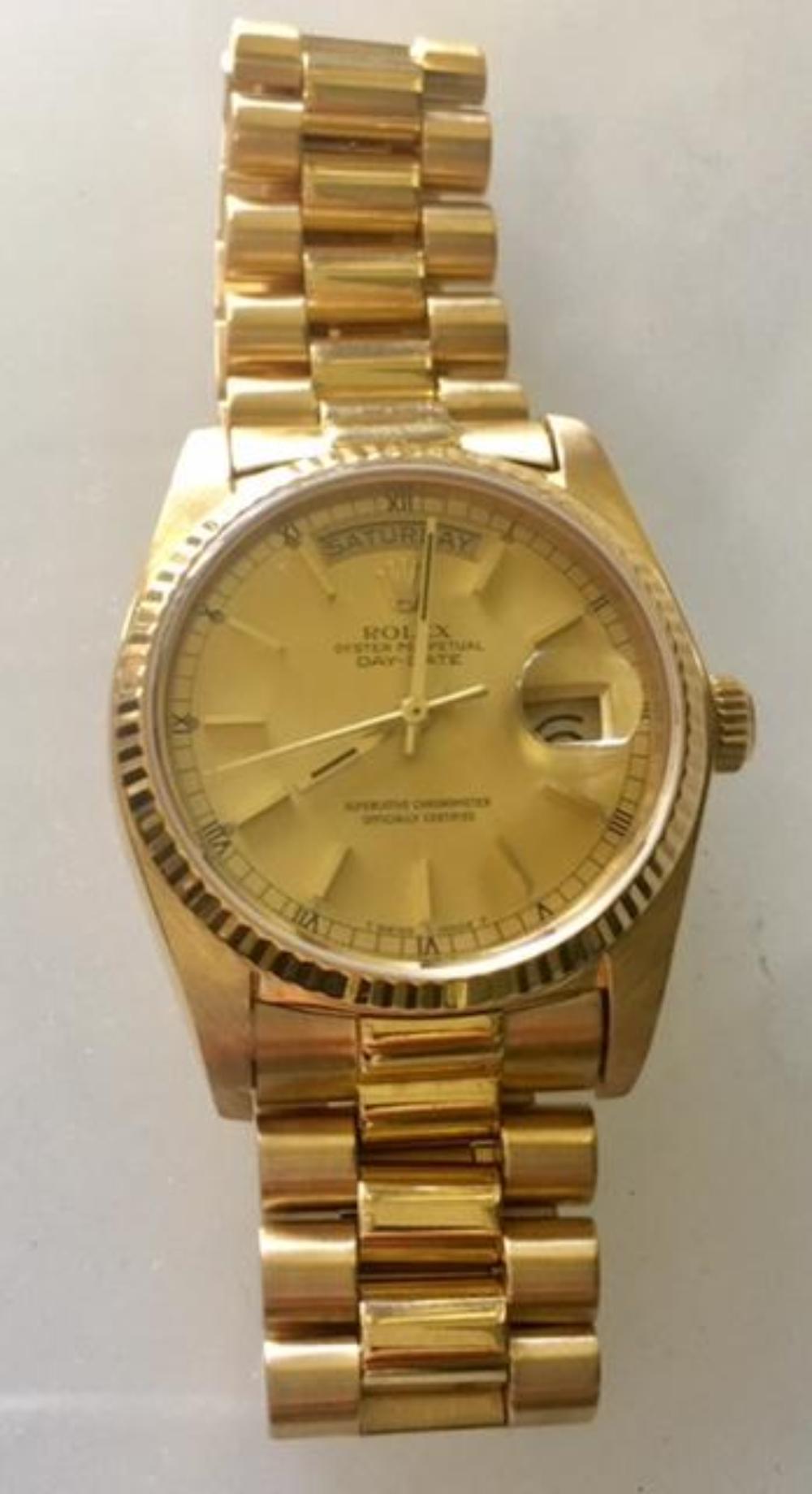 Men's Rolex 18K Yellow Gold Single Quick Set Watch