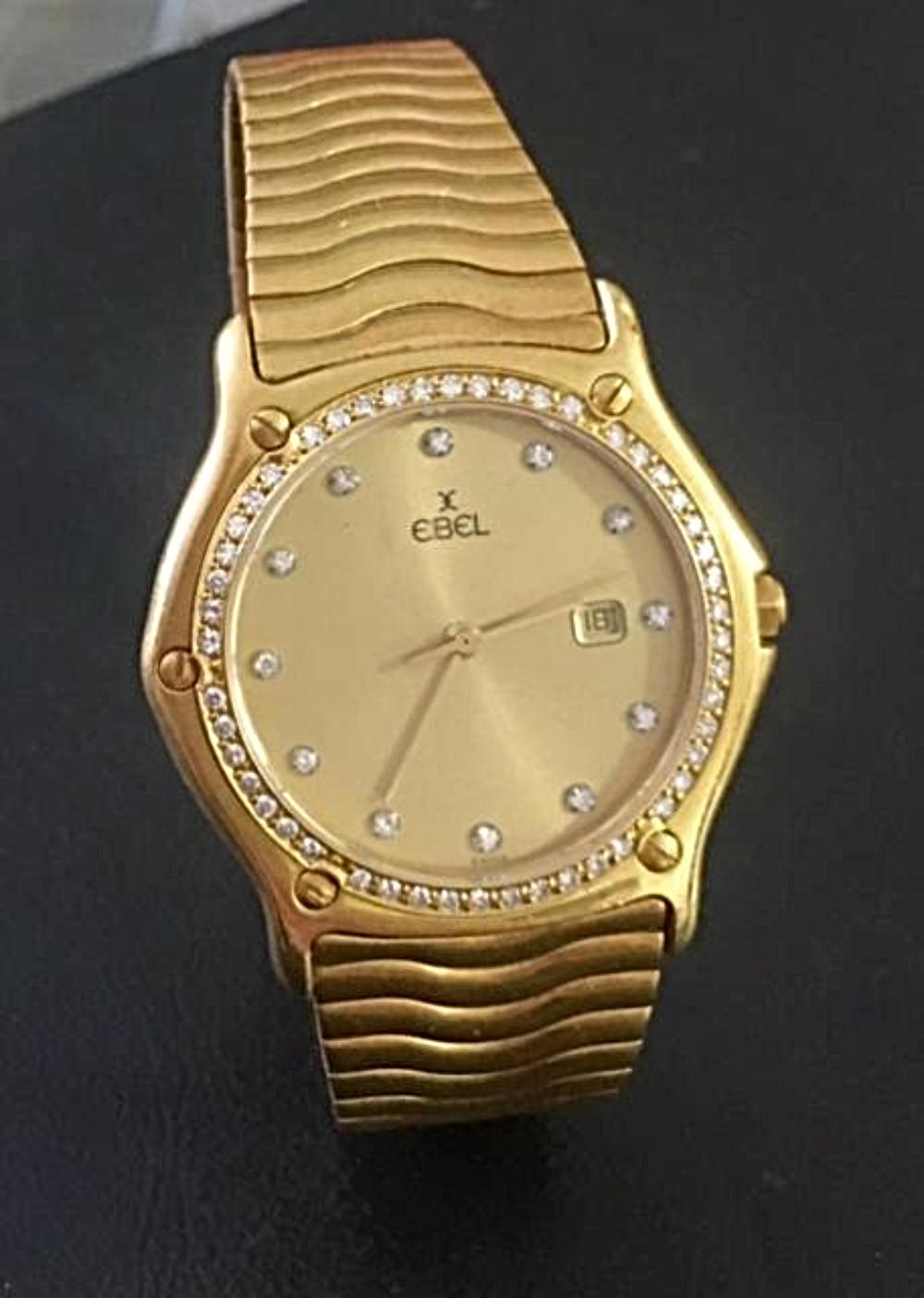 Mens EBEL 18K Gold & Diamonds Swiss Wrist Watch Classic