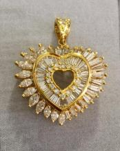 Lot 183: Stunning 18K Gold 4.05ct Diamonds Heart Pendant