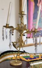Lot 171: Contemporary Gilt Brass Tree Shape 4 Arm Candelabra with Crystals