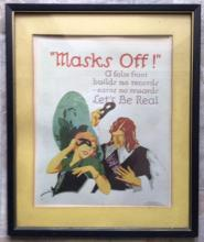 Lot 100: Frank Beatty 1929 Masks Off Poster Mather Chicago London