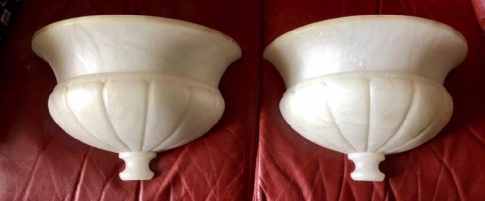Lot 98: Pair of Mid Century Neoclassical Alabaster Wall Sconces
