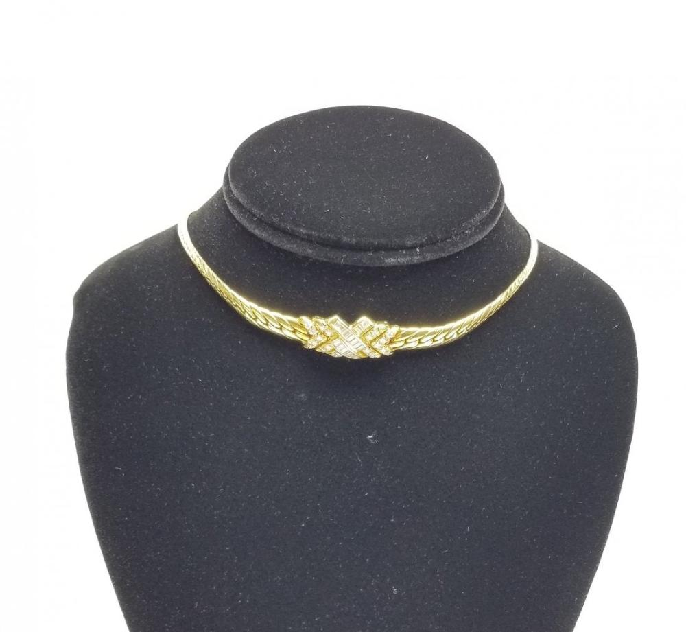 Lot 186: Ladies 18k Yellow Gold Choker Paved Diamond Necklace