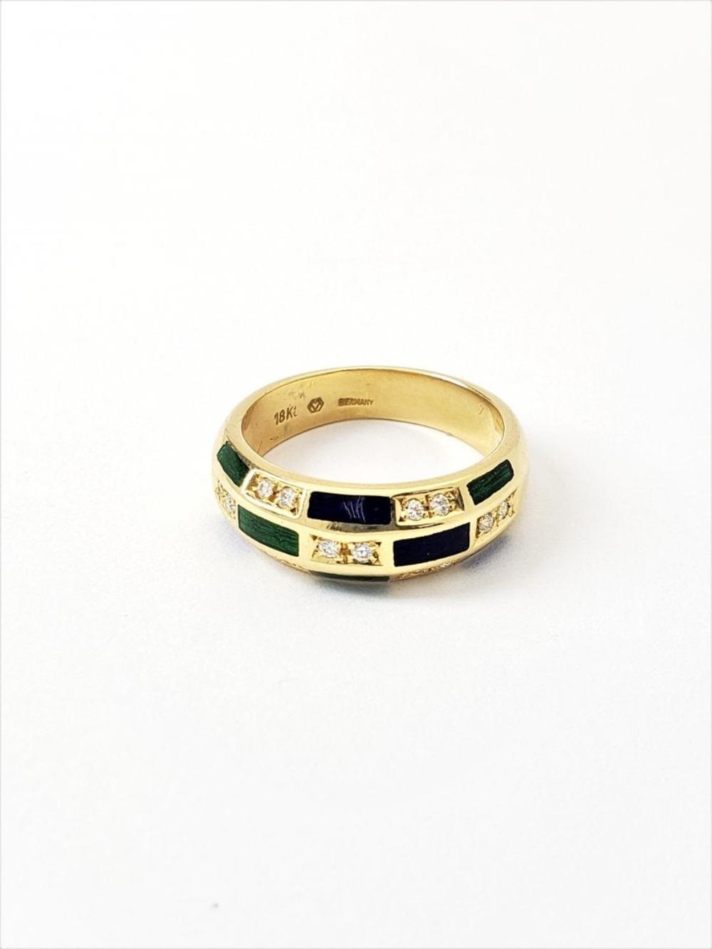Womens Designer Faberge 18k Gold Diamond Enamel Sz 7 Ring