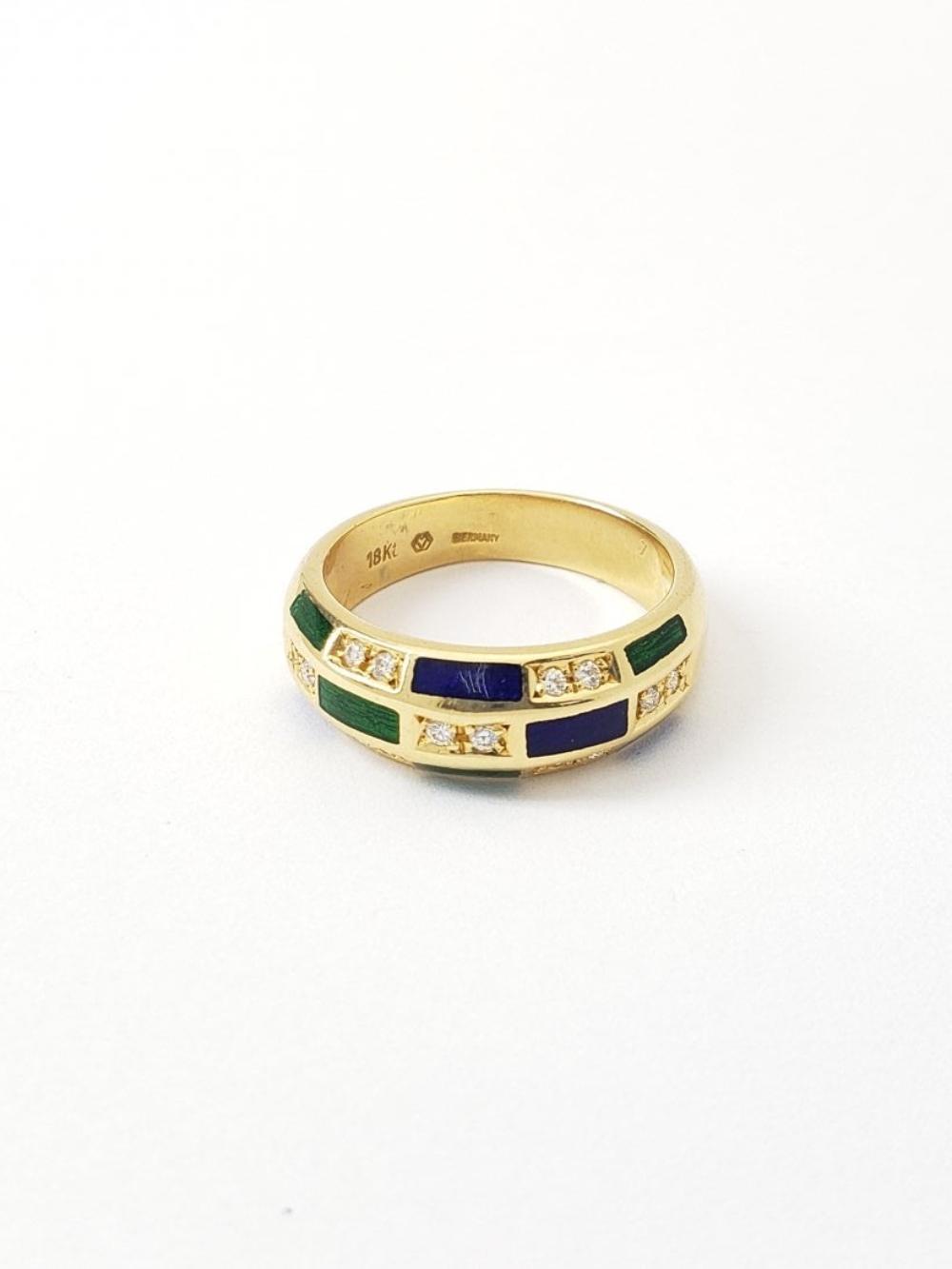 Lot 188: Womens Designer Faberge 18k Gold Diamond Enamel Sz 7 Ring
