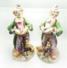 "Lot 189: Pair CAPODIMONTE Porcelain Clown Figurines 20"" Tall"