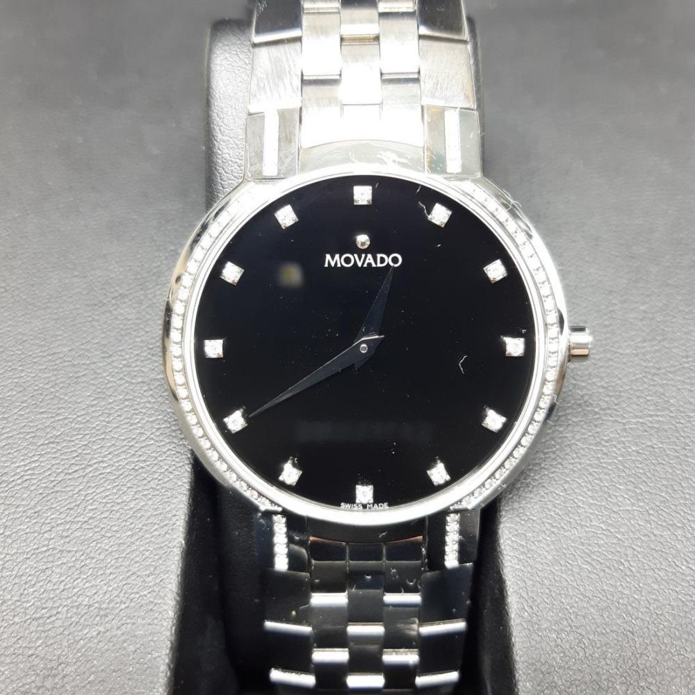 Designer MOVADO Faceto Diamond Bezel Dial Mens Watch