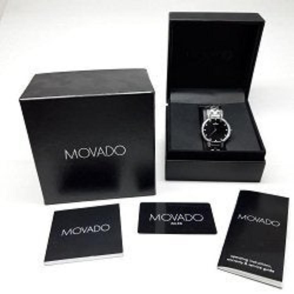 Lot 193: Designer MOVADO Faceto Diamond Bezel Dial Mens Watch