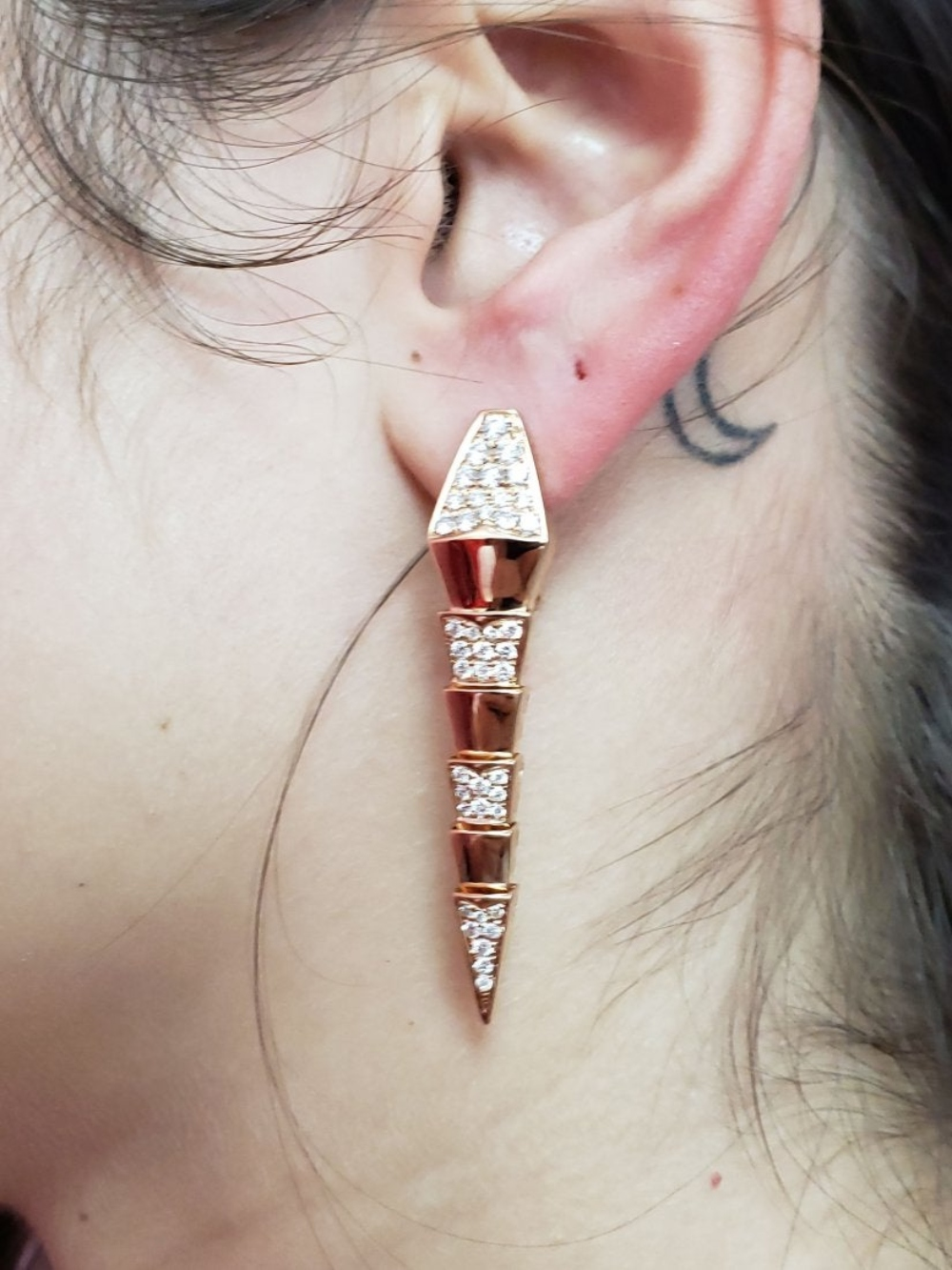Lot 194: Bvlgari Style Serpenti 18k Gold Diamond Drop Earrings