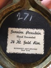 Lot 94: Vintage Porcelain Plaque 24K Gold Rim Bronze Frame